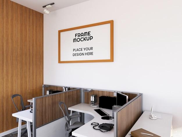 Maquette de cadre photo de bureau intérieur