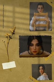 Maquette de cadre photo carré madboard vieux vintage minimaliste psd premium