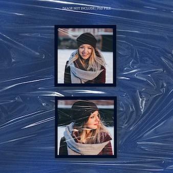 Maquette de cadre photo carré polaroid avec effet de pellicule plastique