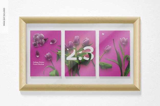 Maquette de cadre photo de collage 2: 3, vue de face