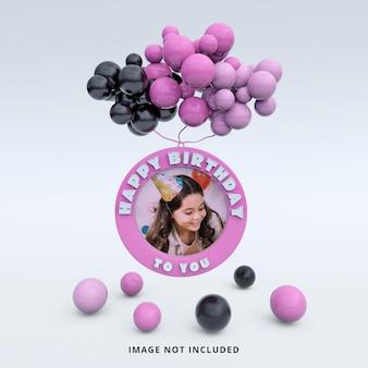 Maquette de cadre photo couleur rose joyeux anniversaire