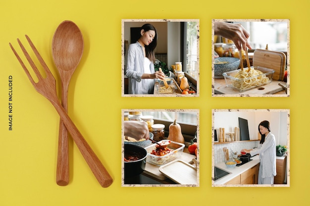 Maquette de cadre photo de cuisinier