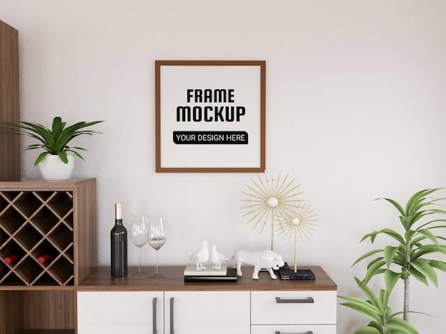 Maquette de cadre photo dans la cuisine moderne