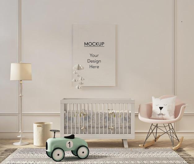 Maquette de cadre photo dans un intérieur mignon de chambre d'enfant