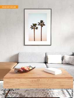 Maquette de cadre photo dans le rendu 3d du salon