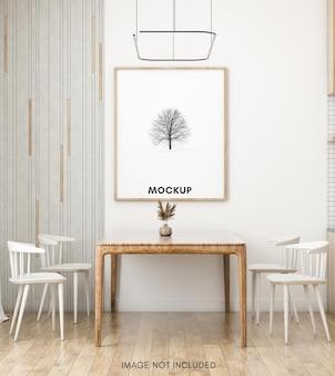 Maquette de cadre photo dans la salle à manger et la cuisine scandinaves
