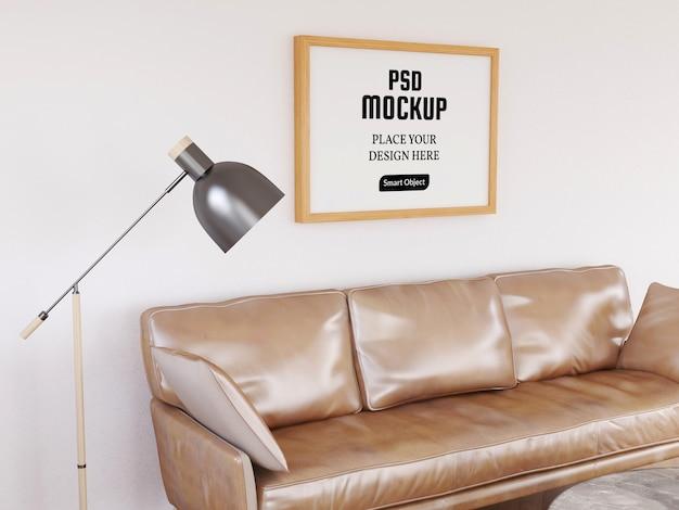 Maquette de cadre photo dans le salon avec canapé