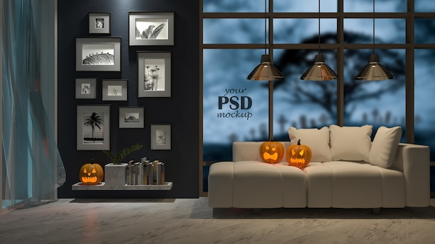 Maquette De Cadre Photo. Un Design D'intérieur Au Festival D'halloween. Tête De Citrouille Sur Le Canapé PSD Premium