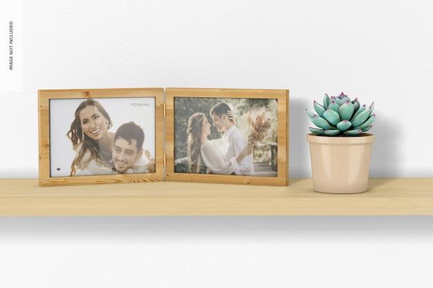 Maquette de cadre photo double horizontal