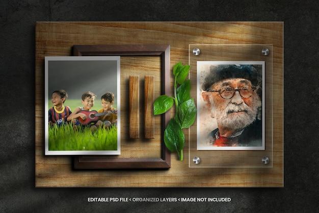 Maquette de cadre photo sur fond de texture en bois avec feuille