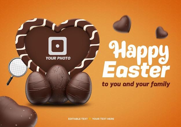 Maquette de cadre photo en forme de coeur au chocolat joyeuses pâques