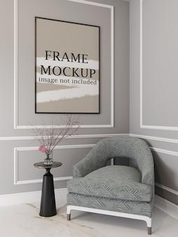 Maquette de cadre photo mince sur mur de moulage