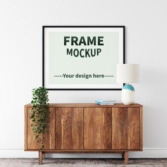 Maquette de cadre photo noir intérieur de style simple