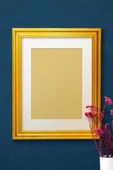 Maquette de cadre photo en or