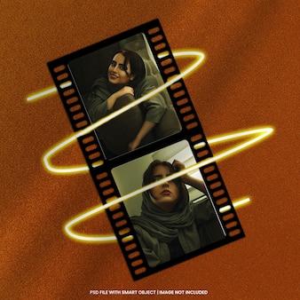 Maquette de cadre photo polaroid à bande de film psd premium