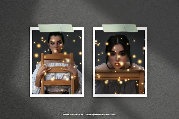 Maquette de cadre photo polaroid avec effet de lumière psd premium