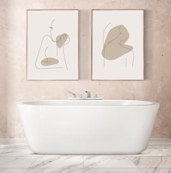 Maquette de cadre photo psd suspendue dans un intérieur de décoration de salle de bain de luxe