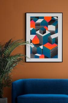 Maquette de cadre photo psd suspendue dans un intérieur de décoration de salon rétro