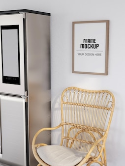 Maquette de cadre photo réaliste dans la cuisine moderne