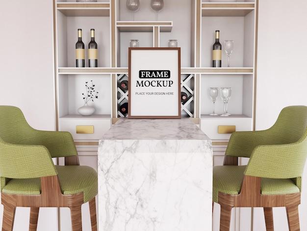 Maquette de cadre photo réaliste dans la cuisine