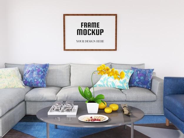 Maquette de cadre photo réaliste dans le salon moderne