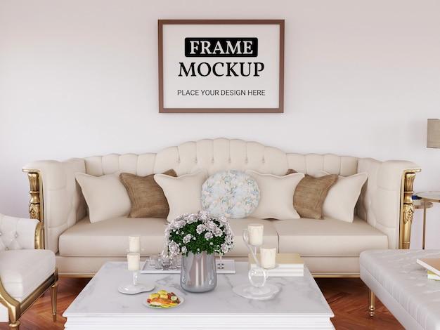 Maquette de cadre photo réaliste dans le salon