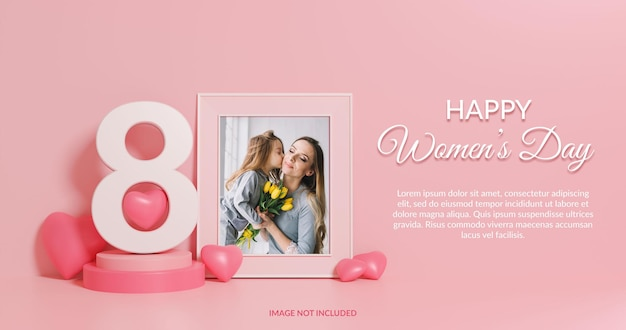 Maquette de cadre photo de rendu 3d happy women's day