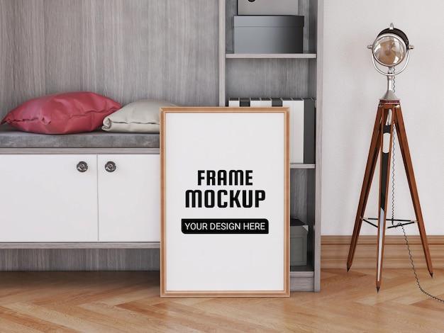 Maquette de cadre photo sur le sol
