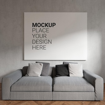Maquette de cadre photo vide sur le mur