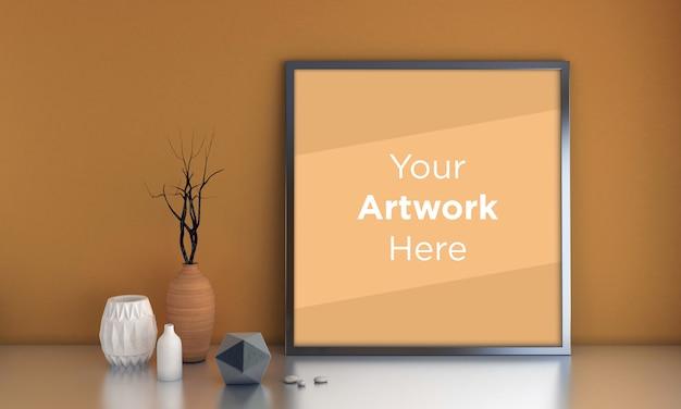 Maquette de cadre photo vide avec des vases