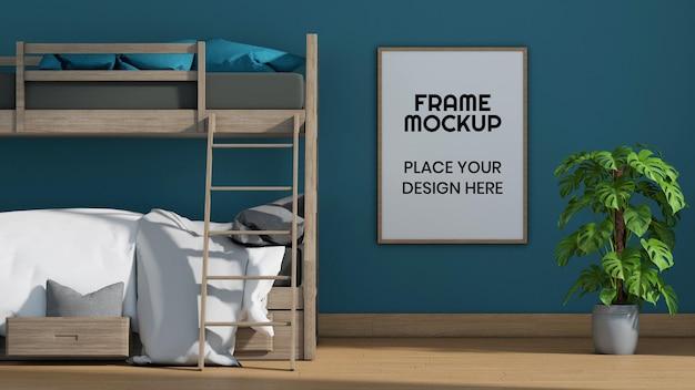 Maquette de cadre photo vierge dans la chambre