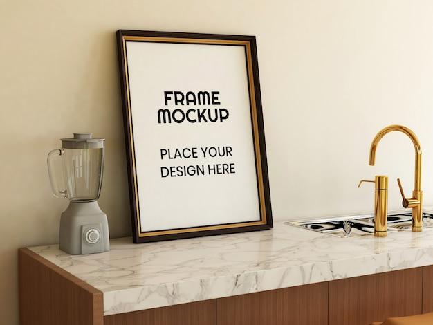 Maquette de cadre photo vierge dans la cuisine