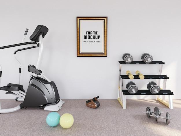 Maquette de cadre photo vierge dans la salle de fitness