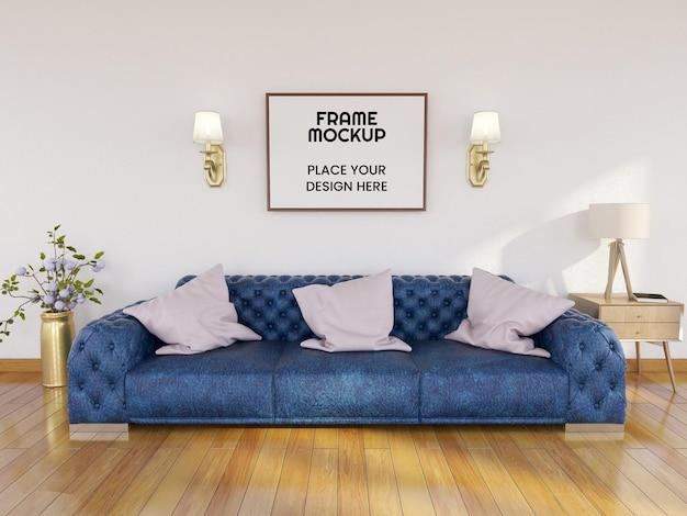 Maquette de cadre photo vierge dans le salon
