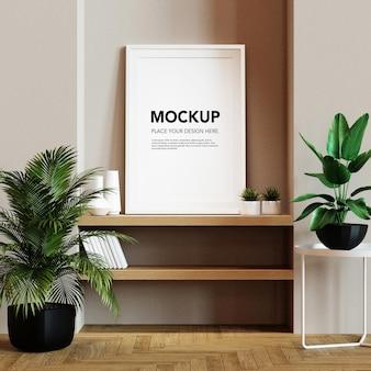 Maquette de cadre photo vierge sur étagère murale