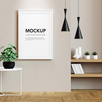 Maquette de cadre photo vierge sur le mur