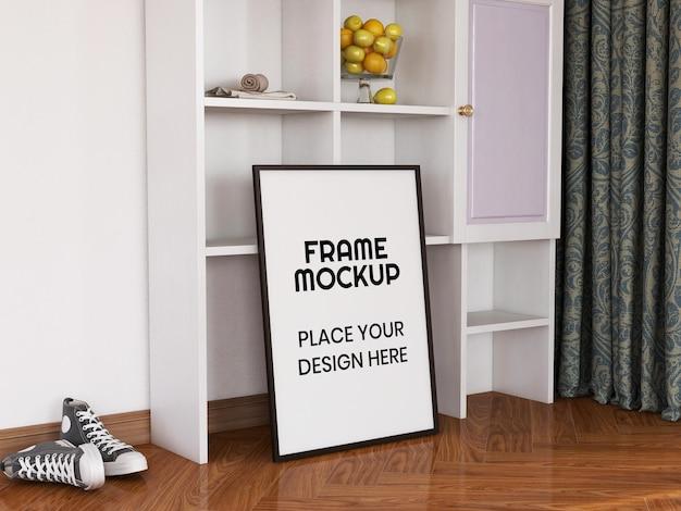 Maquette de cadre photo vierge sur le sol