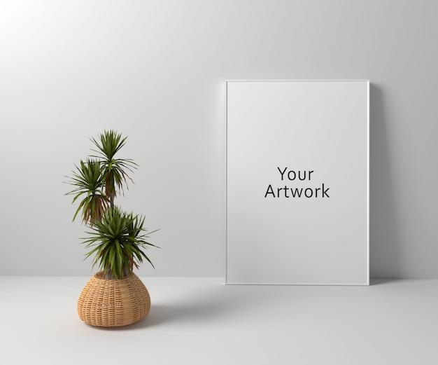 Maquette de cadre avec plante