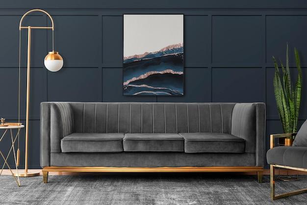 Maquette de cadre psd dans un salon dans un style esthétique de luxe moderne chic