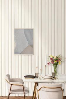 Maquette de cadre psd et table à manger dans une salle à manger esthétique boho chic moderne