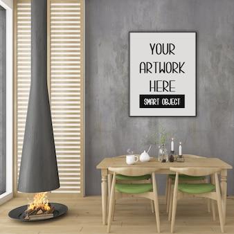 Maquette de cadre, salle à manger avec cadre vertical noir, intérieur scandinave