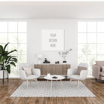 Maquette de cadre, salon avec cadre carré blanc, intérieur scandinave