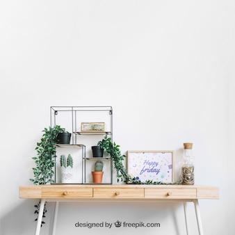 Maquette de cadre sur une table décorée