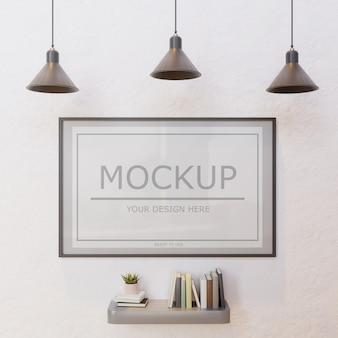 Maquette cadre vertical sur mur blanc sous lampe avec étagère murale livre