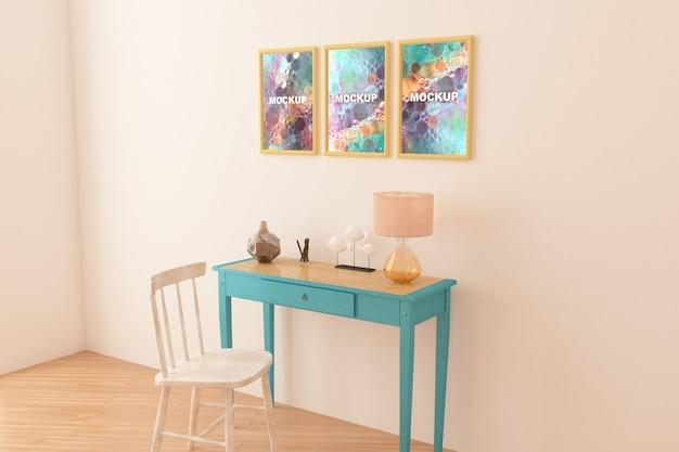Maquette de cadres au dessus de la petite table