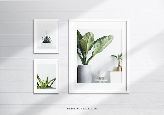 Maquette de cadres blancs minimalistes ou décoration de moodboard avec ombre et mur réalistes