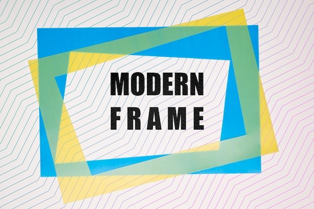 Maquette de cadres modernes bleu et jaune