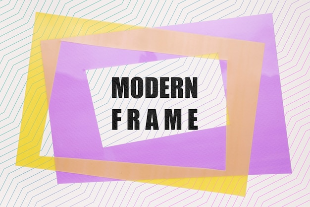 Maquette de cadres modernes violet et jaune