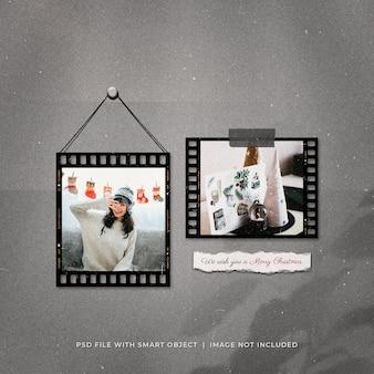 Maquette de cadres photo de bande de film de publication de médias sociaux de voeux de noël