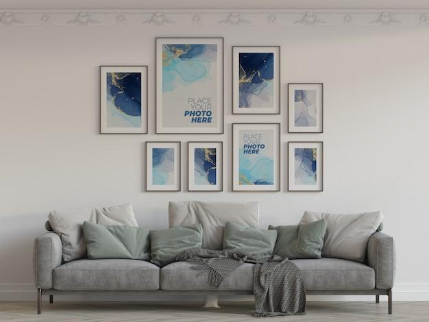 Maquette de cadres photo dans le salon
